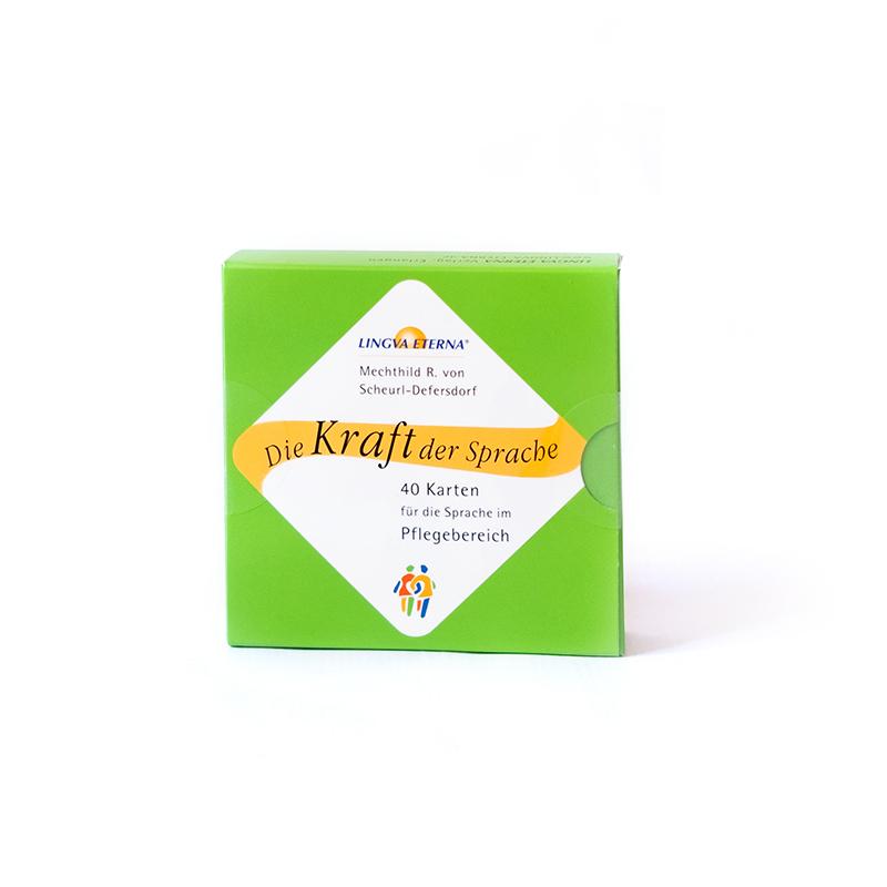 Kartensatz grün Pflege Vorderseite Die Kraft der Pflege 40 Karten für die Sprache im Pflegebereich